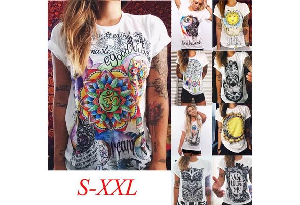 Women Summer Fashion T-shirt Multicolor Short Sleeves Casual Cotton T-shirt (Size:S-2XL)