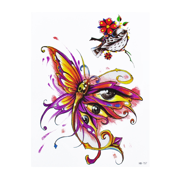9b4a5d640 1x DIY Body Art Temporary Tattoo Colorful Animals Watercolor ...