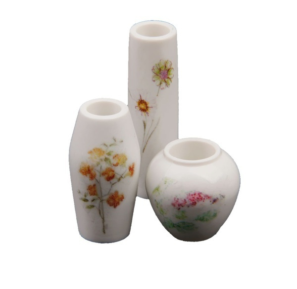 Wish New 3pcs Doll House Miniature Plastic Flower Vase With Pink