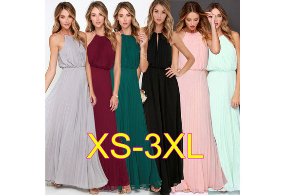 12 Colors Women's Fashion Spring Summer Autumn High Quality Casual Sleeveless Halter Pleated Fashion Sexy Dress Ladies Chiffon Elegant Solid Color Evening Party Wedding Beach Long Dress Plus Size XS-XXXL