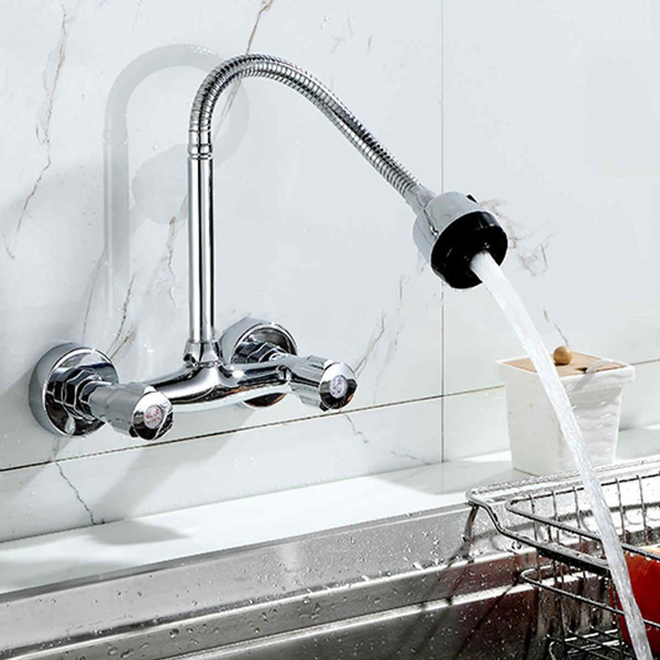 360° Pipe Swivel Kitchen Wall Mount Chrome Pull Down Sink Spray Faucet Mixer Tap