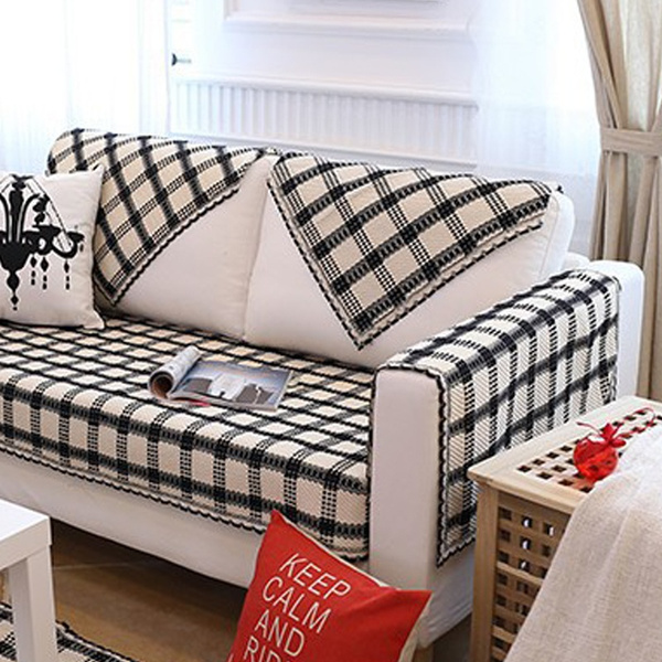 Wish | Home Living Cotton Linen Sofa Throw Covers Pet Furniture Protector  Black and White Stripes Lattice Seat Sofa Cover Slipcovers Covers