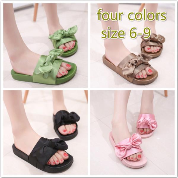 69c83fc46 Lotus Jolly Silk Bow Slides Women Summer Beach Shoes Woman No Fur ...