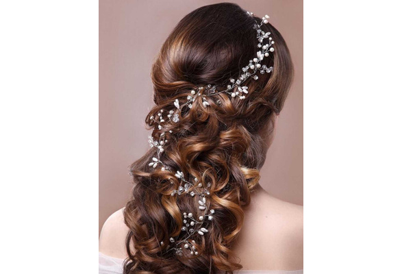 Crystals Bridal Wedding Headband, Hair Vine and Headpiece (19.6 Inches)