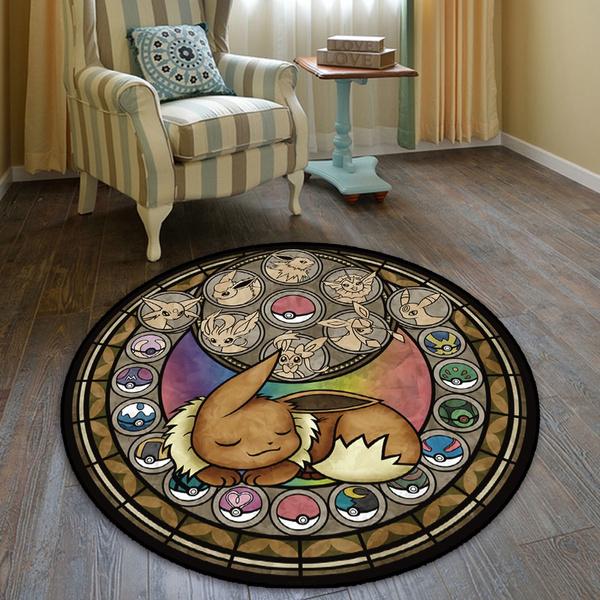 Pokemon Go Eevee Circle Cute Anime Manga Velboa Floor Rug Carpet ...