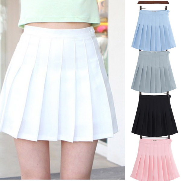 Girls A Lattice Short Dress High Waist Pleated Tennis Skirt Uniform With Inner Shorts by Wish
