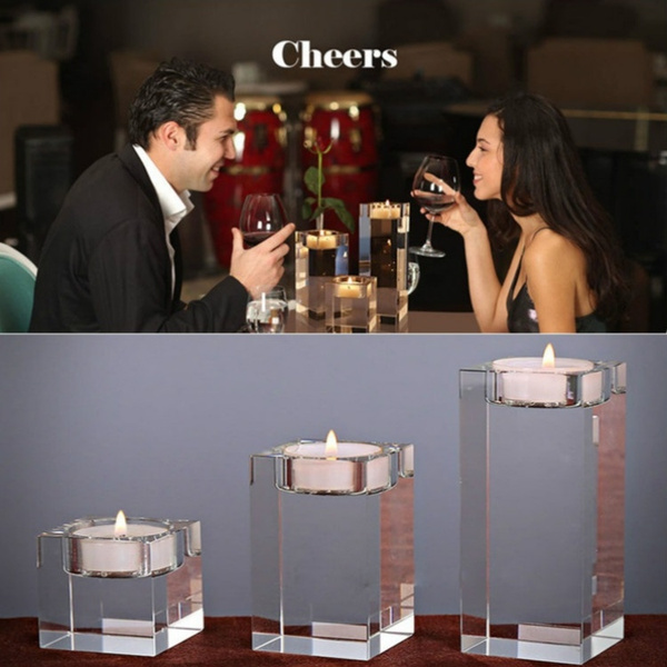 Dining Table and Bar 1# Set 3-Piece Crystal Glass Candle Holder Set//Crystal Candlelight Dinner Candle Holder//Creative Ornament for Home