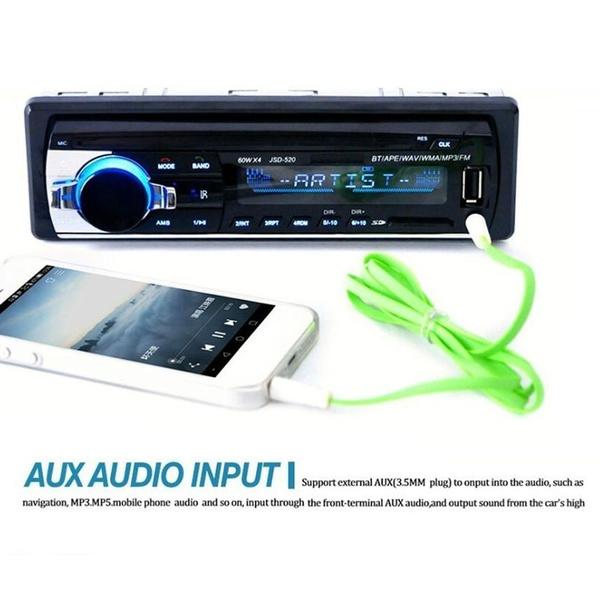 Wish   12V Car Bluetooth MP3 Player Stereo In-dash 1 Din FM Aux Input