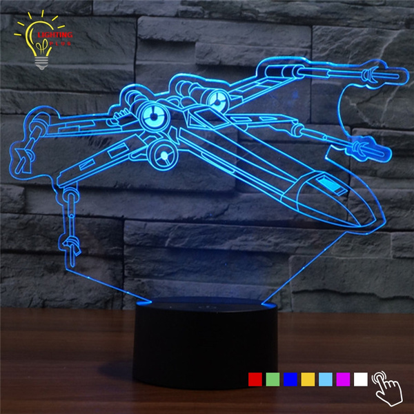 New 3D Night Light Star Wars X Wing Millennium Falcon LED Lamp Holiday  Lighting Table Lamp Nightlight for Child New Year Gift