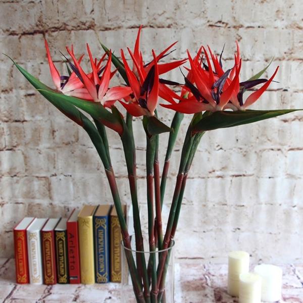 1pc Home Wedding Artificial Silk Strelitzia Reginae Fake Plant Bird Of Paradise