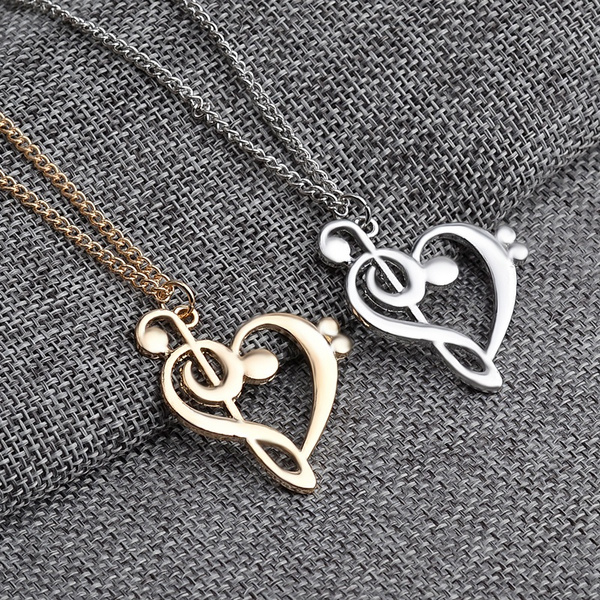 Wish 2017 New Fashion Women Rose Gold Jewelry Cute Bass Clef Heart