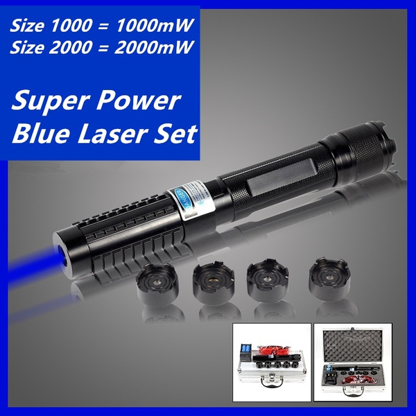 High Power 1w 2w 450nm Focus Visible Blue Beam Laser Pointer Pen Box Set  with 5 Caps 4 Batteries Size 1 Means 1w Size 2 Means 2w
