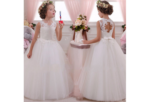 Kids Flower Girl Dress Baby Girls Lace Formal Princess Pageant Wedding Birthday Party White Bridesmaid Dresses Tea Length 5-14Years