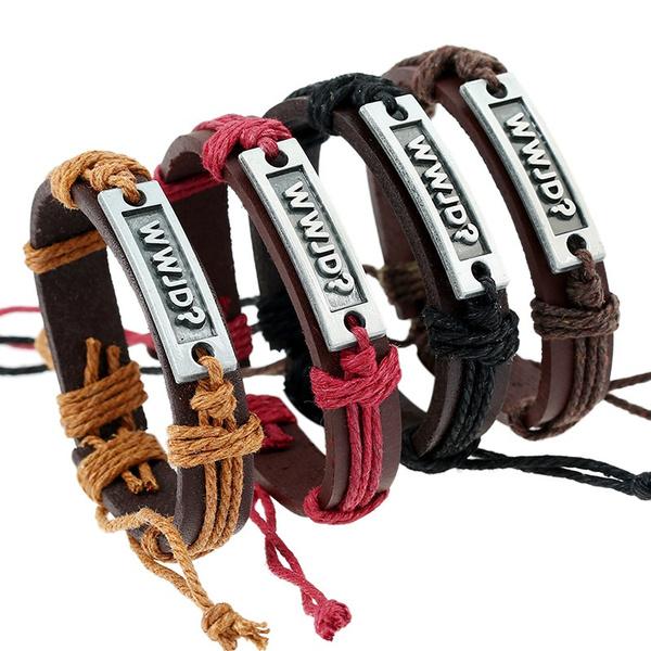 Elegant Pu Leather Bracelets Bangles Accessories High Quality Faux Fashion Wwjd Bracelet