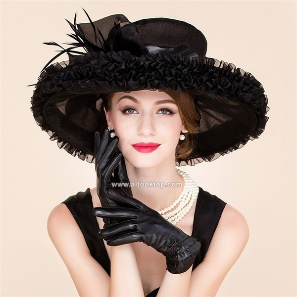 6633deea426c Summer black kentucky derby hats for tea party dresses church hats women  wide brim hat organza chapeau femme wedding sombrero | Wish