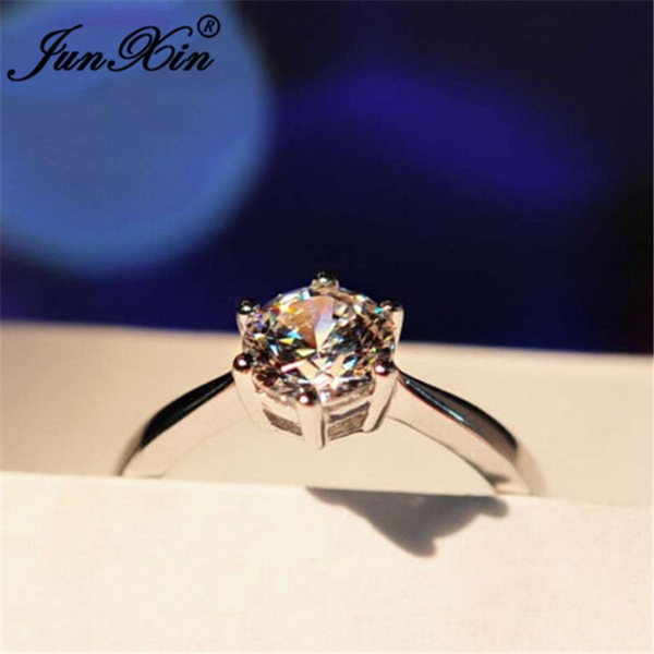 Cute Junxin 5 Ct White Shire Six Claw Ring 10kt Gold Filled Wedding Rings Band Size 4 12