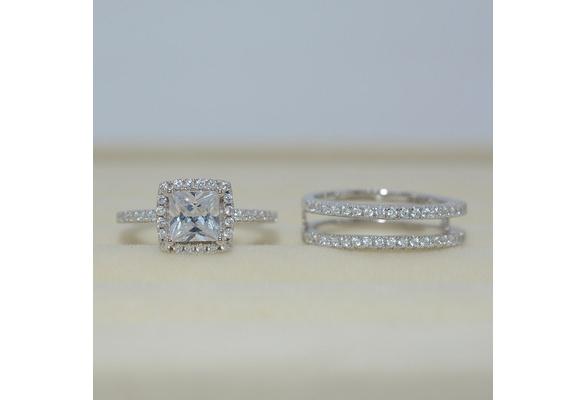 Fashion Halo Cushion Cubic Zirconia CZ White Gold Filled 2pcs Wedding Engagement Ring Insert Set