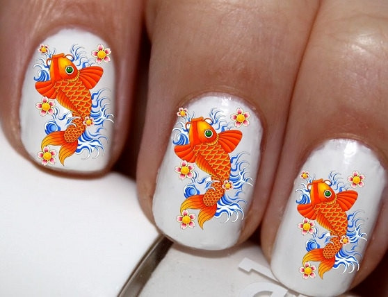 Wish 20 Pc Koi Fish Good Luck Chinese Nail Art Decals Stickers Lowest Price On Etsy Cg1377na