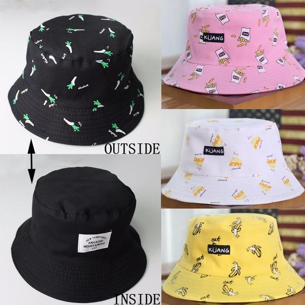 dcf5ffadeda Women Fashion Hat Two Sides Reversible Bucket Hat Banana Sunblock Hat  Fishing Hat Couple Caps Hip Hop Casual White Black Yellow Pink Unisex  Summer Hats Hatt ...