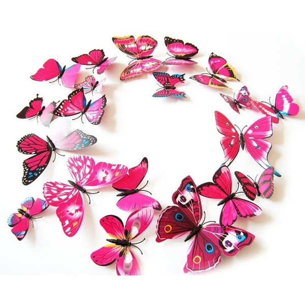 Wandtattoo Schmetterlinge Violett Wandsticker Deko Set