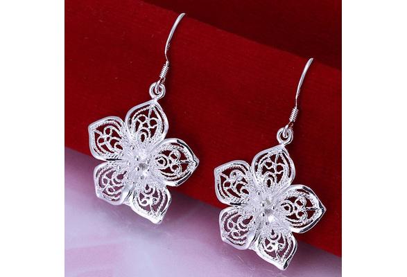 New 925 Silver Earrings, High Quality 925 Silver Fashion Jewelry, Flower Drop Earrings