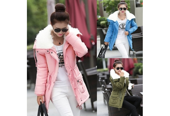 Winter Women Jackets Coat Warm Hooded with Fur Two side Cotton Slim Casual Outwear Coat chaqueta mujer