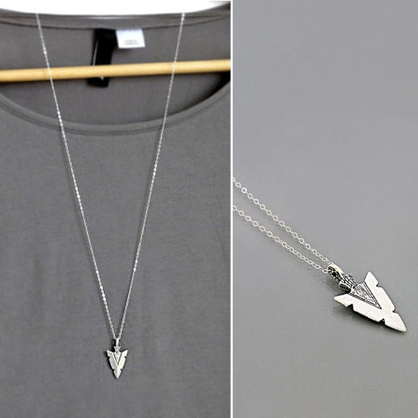 Vintage Silver Punk Arrow Pendant Leather Necklaces Choker Chain Jewelry Gift