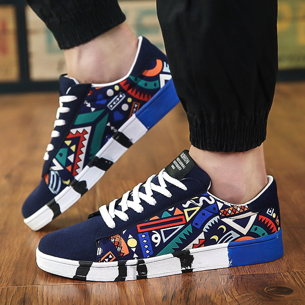 Men Sneakers Breathable Lace-Up Canvas Shoes Print Flat Footwear