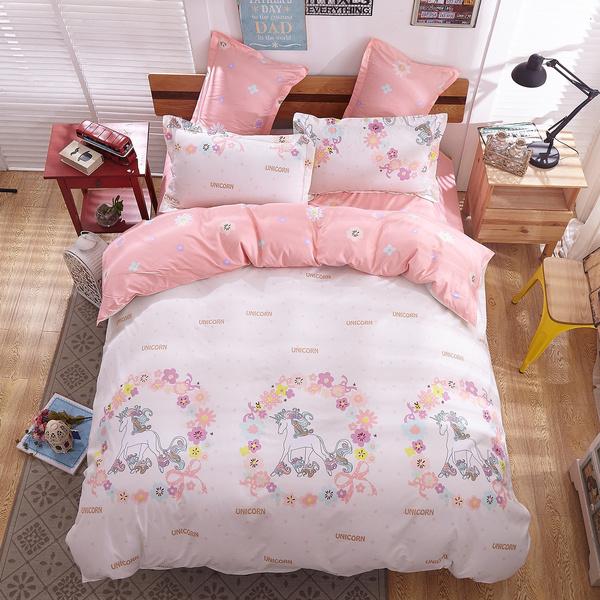 wish 3d print unicorn bedding set king size 4pcs bedding sets duvet cover bed sheet 2pillow cases - Unicorn Bedding