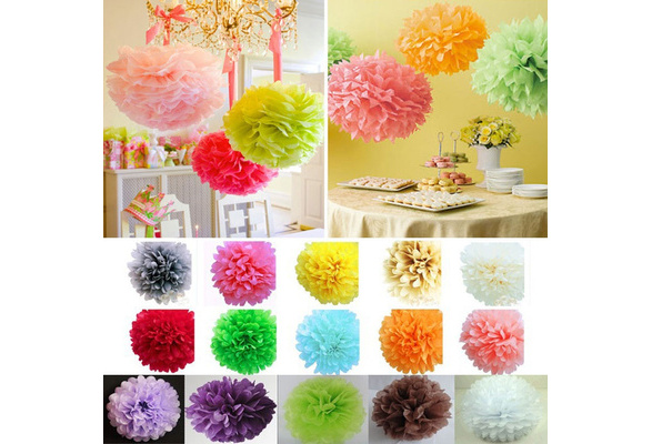 5 Pcs Paper Pom-poms Flower Ball Wedding Party Outdoor Decoration Multicolor