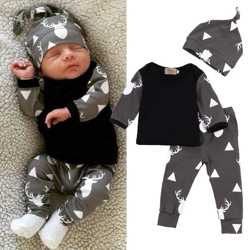 Newborn Infant Baby Boy Kids Clothes Tops T Shirt Leggings Pants Hat Outfits Set