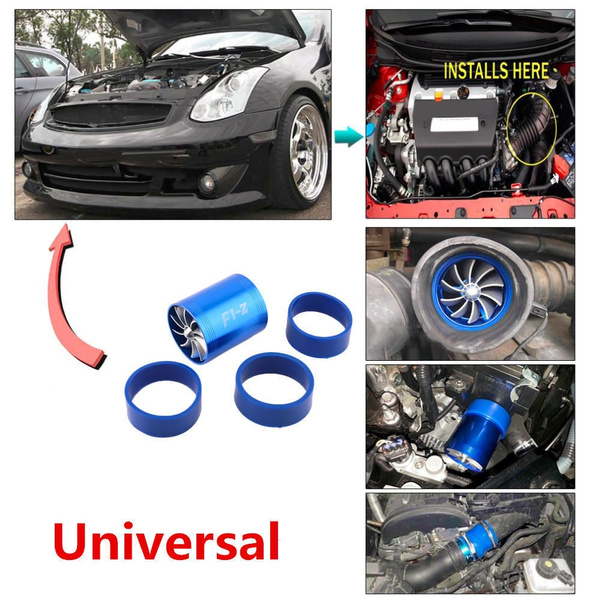 Blue Car Air Intake Turbonator Dual Fuel Saver Turbo Charge Supercharger Fan