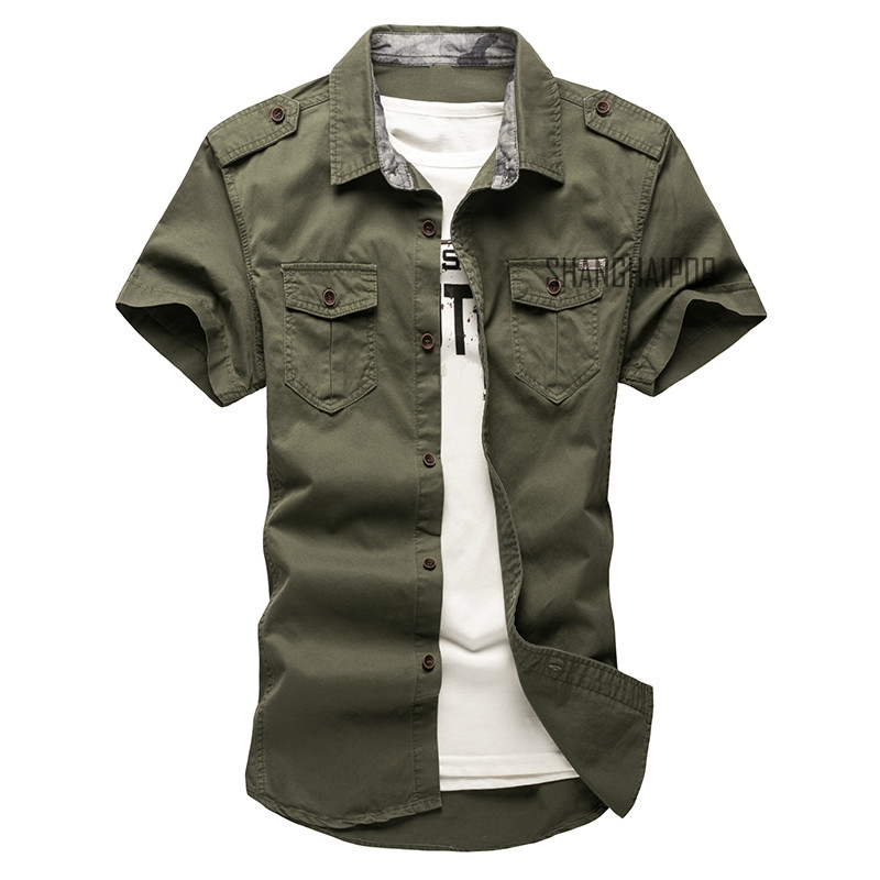 Men/'s Casual Long Sleeve Army Cargo Shirt Work Cotton Shirt Double Pockets UK