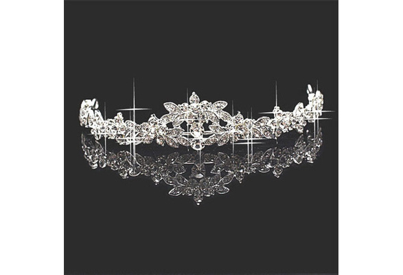 Trendy Hair Silver Plated Crown Prom Princess Crystal Bridal Flower Wedding Tiara Headpiece Headband