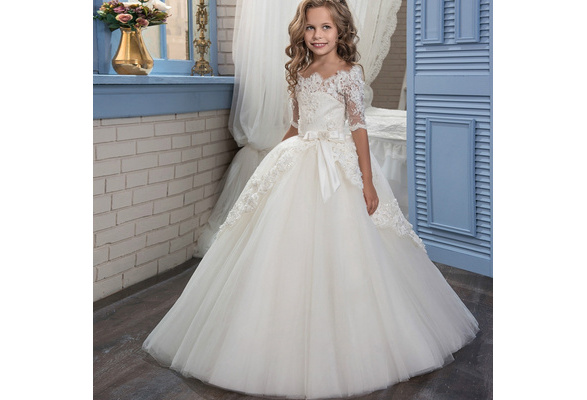 Lace Flower Girl Dress Butterfly Kids First Communion Gown Princess Wedding Royal Train