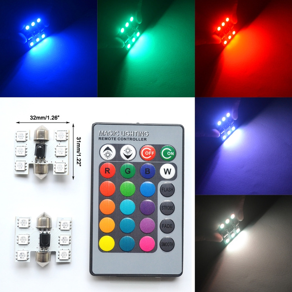 Controlled Bulbs Auto Car Festoon Light Hviero Remote Dome 5050 2pcs Lamp C5w Rgb Colorful 6smd Led y7Yvb6Ifg