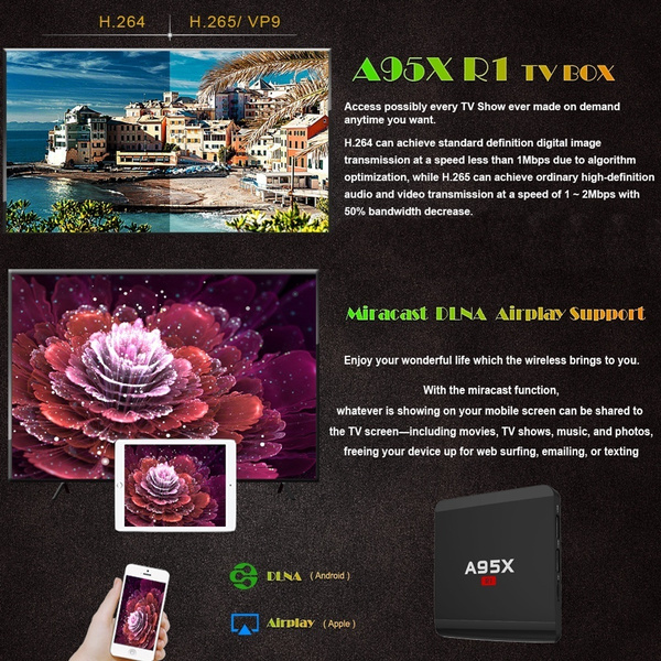 NEXBOX A95X R1 Android TV Box Rockchip RK3229 Quad Core Set Top Box Media  Player Android 6 0 4K TV Tuner Miracast DLNA Airplay Support