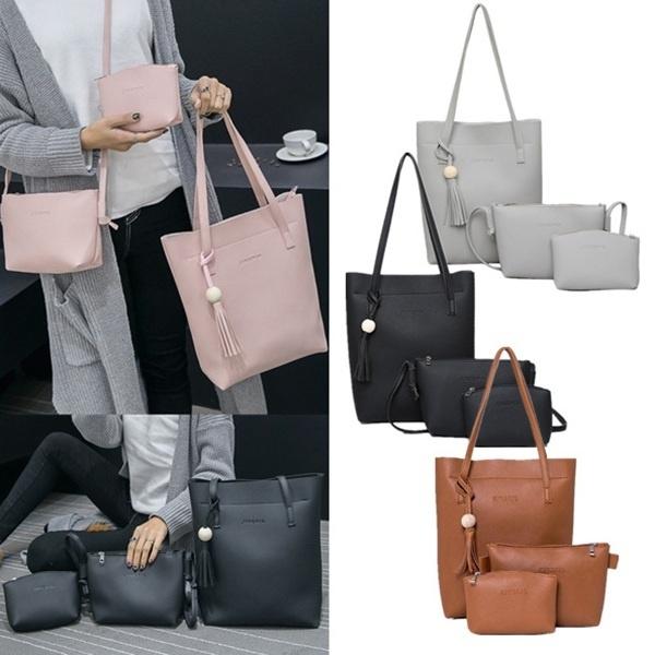 7a16e8b72f5c 3Pcs/Set women Handbags Purse Women Messenger Bags Office Lady Shoulder  Bags Casual Tassel Tote Bag