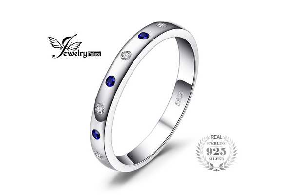 Classical 925 Sterling Silver Jewelry 0.23ct Created Sapphire Band Engagement Ring