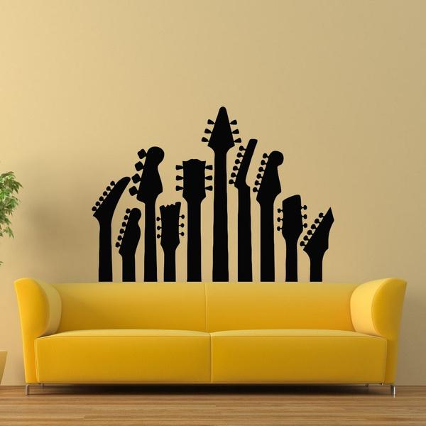 Guitar Wall Decal Music Wall Decal Musical Instrument Decals Vinyl Stickers Living Room Boy Room Bedroom Dorm Recording Studio Decor