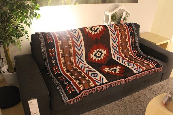 Geek Tapestry Geometric Rugs Cotton Woven Blanket Throws Aztec