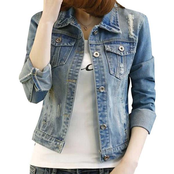 prix compétitif a581a 88f39 2017 Summer Women Blouson Fashion Oversized Women Denim Jacket Slim Veste  En Jean Femme Manche Longue Cool Women Jeans Jacket
