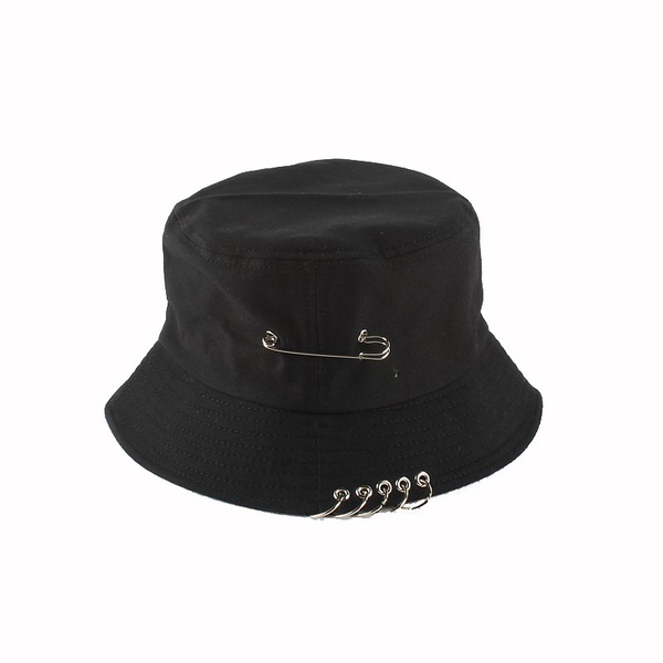 86c44a4b2d742 Women s Five Iron Rings Safety Pins Design Basin Bucket Hats Patch Boonie  Japanese Style Tide Brooklyn Bucket Hat Fisherman Hat Leisure Hats Hip Hop  Men