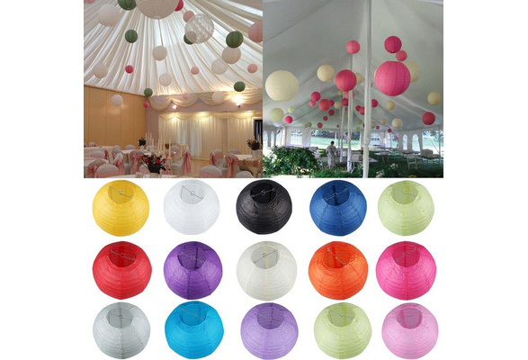 Multicolor Chinese Paper Lampion Ball Festival Supplies For Wedding Party Decoration 6inches 8inches 10inches 12inches 14inches 16inches(inches Warm white inches is just the LED lamp,No Paper Lantern !!!)