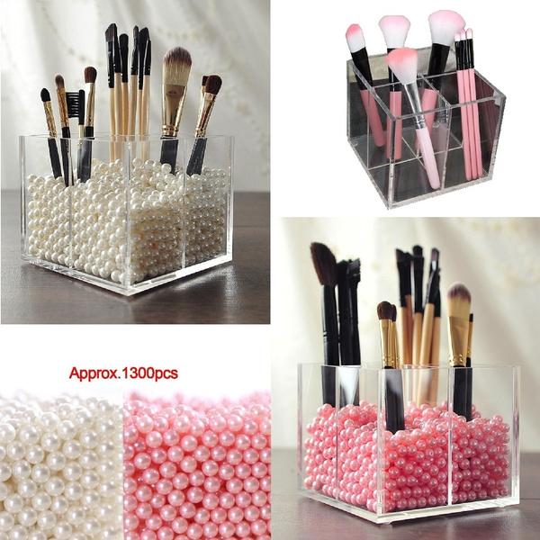 Clear Acrylic Dustproof Cosmetic Organizer Makeup Brush Storage Case Holder  Box \u0026 1300pcs Pearls