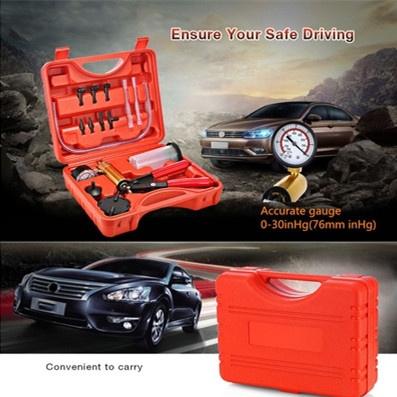 2 in 1 Auto Car Brake Fluid Bleeder Adapter Oil Change Hand Held Vacuum Pistol Pump Tester Kit DIY for All Vehicles-Red