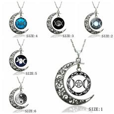 Sterling, crescentnecklace, glasspendantnecklace, Jewelry