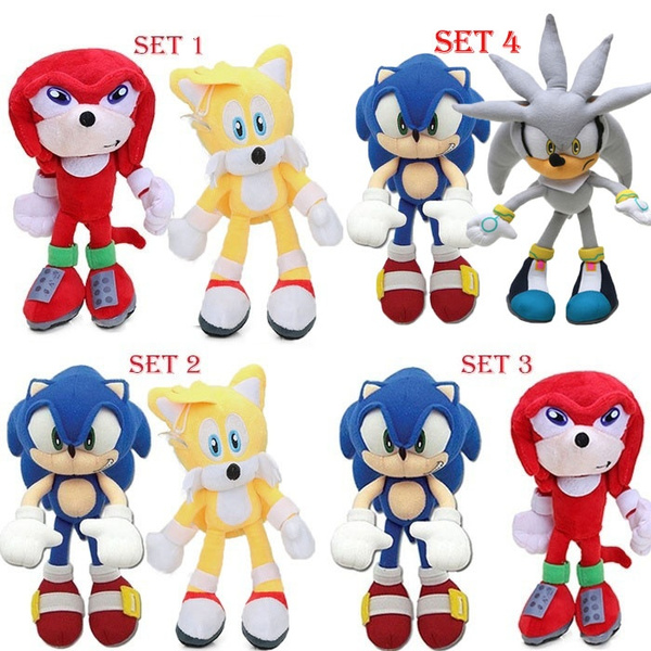 2pcs Set 20cm Classic Super Sonic The Hedgehog Plush Toys Knuckles 25th Anniversary Tails Dolls Wish