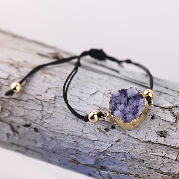 Stone, Jewelry, drusy, wovenbracelet