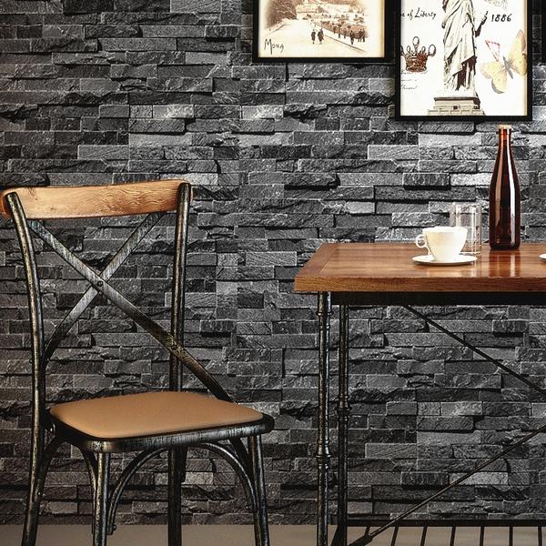 Retro Nostalgic Brick Wall Wallpaper Grey 3d Effect Stone Brick Wallpaper For Walls Roll Living Room Restaurant Wall Decoration
